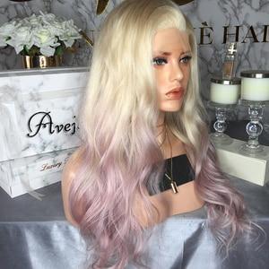 Image 4 - AVEJOICE karışık pembe renk dantel ön peruk ön koparıp Hairline brezilyalı vücut dalga İnsan saç peruk siyah kadın için yoğunluğu 150%