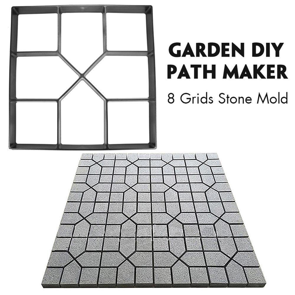 Garden DIY Plastic Path Maker Pavement Model Concrete Stepping Stone Cement Mould Brick FP8 FE27