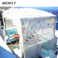MENFLY 4x8M Camouflage Mesh Belt Frame Wedding Decoration Tent Get Married Shading Netting Garden Theme Party Sun Shelter