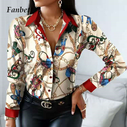 Women Vintage Floral Print Lacing Blouse Shirt Autumn Long Sleeve Sexy V Neck Ladies Top Casual Button Female Fashion Slim Blusa
