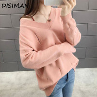 autumn winter korean v neck plus size loose ladies sweaters long sleeve high quality knitted harajuku pink sweater woman clothes