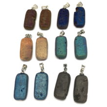 New Natural Stone Jewelry 1 Pc Rock Pendants & Necklace Charms for Making Women Men 12x32