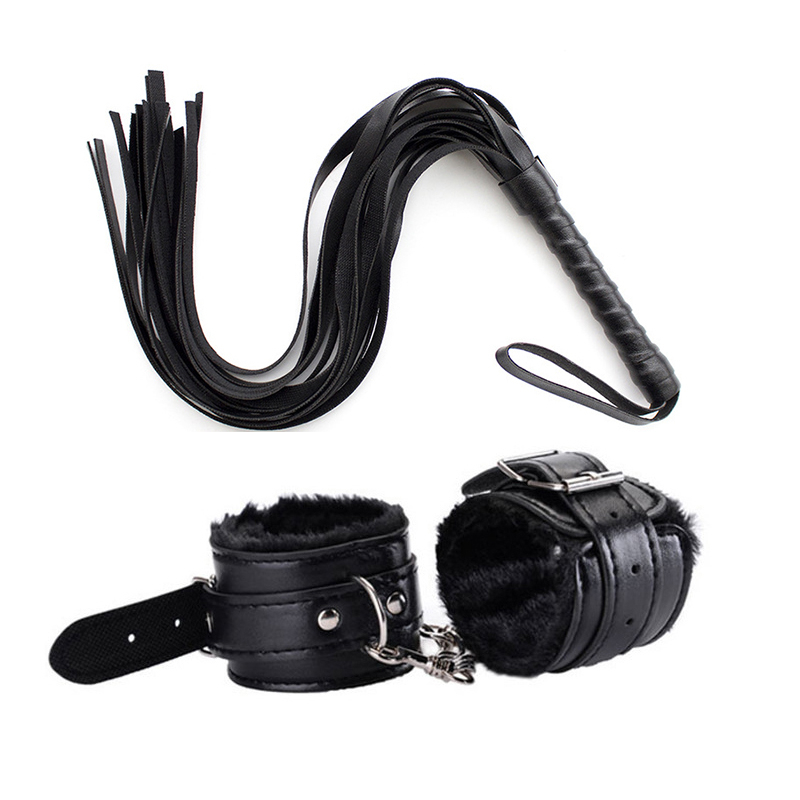 2pcs/set PU Leather Erotic Handcuffs Anklecuff Restraints With Whip BDSM Bondage Slave Sex Toys For Couples Adult Game Flogger
