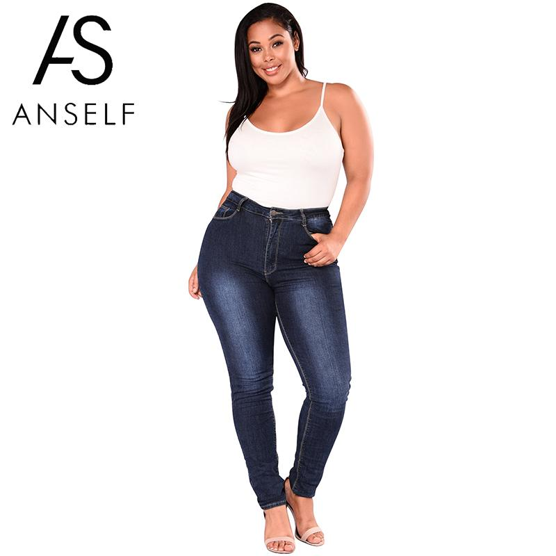5XL 6XL 7XL Plus Size High Waist   Jeans   Woman Elastic Denim   Jeans   Skinny Pencil Pants Stretch Bodycon Slim Trousers female Blue