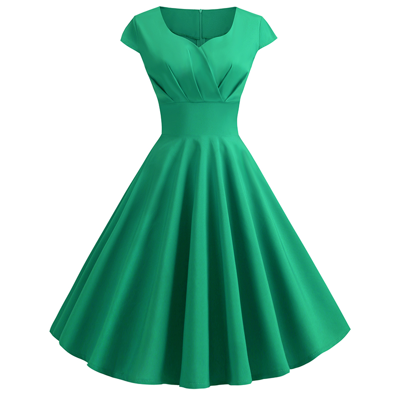 V-neck Short-sleeved Green Prom Sexy Woman Dress For Party And Wedding Bridesmaid Dress Elegant Retro Hepburn Style Large Dress