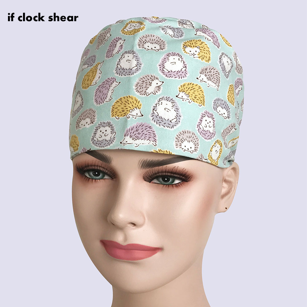 IF New Unisex Beauty Salon Hats Cotton Pharmacy Hat Cartoon Printing Hospital Nurse Cap Adjustable Dentistry Surgical Caps Women