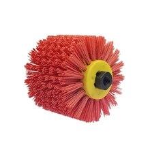 P80 красная абразивная проволока барабанные щетки для снятия заусенцев полировка колесо для мебели деревянный угол адаптер шлифовальной машины