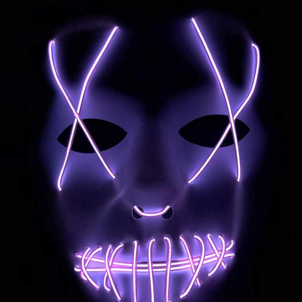 هالوين حزب Led قناع قناع تنكر أقنعة النيون Maske ضوء متوهج في الظلام ماسكارا الرعب مسكة متوهجة تطهير الوهج قناع