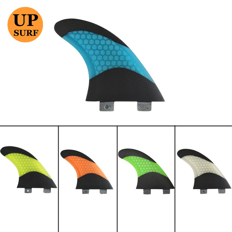 UPSURF Tri Future Fins L Size G7 Surfboard 3 fins Carbon+Fiberglass+Honeycomb Orange//Green//White