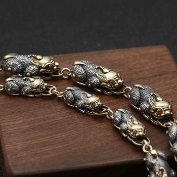 FNJ Link Pixiu Chain Bracelet 925 Silver 20cm +3cm New Fashion Statement Original Pure S925 Silver Bracelets for Men Jewelry