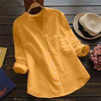 Camicia popolare donna autunno nuovo colore puro cotone lino manica lunga sciolto camicia Casual da donna di grandi dimensioni