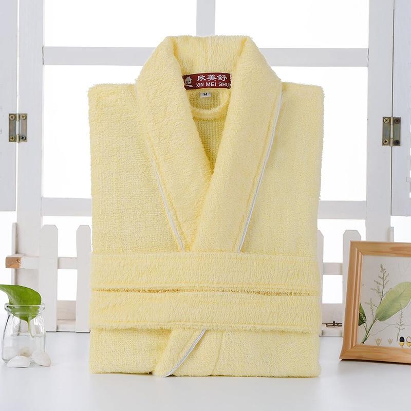 Cotton Bathrobe Towel Terry Robe Lovers Hotel Robe Solid Men's Robe Bathrobe Soft Sleeprobe Male&Female Casual Homewear Summer