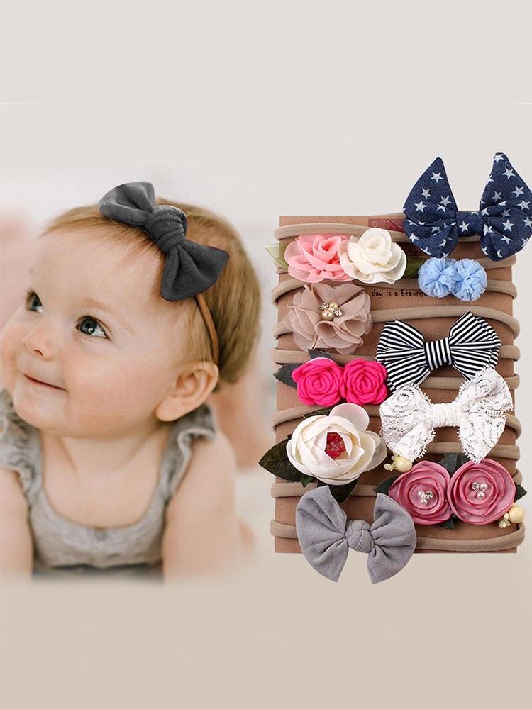 10Pcs/Set Baby Girl Headbands Bows Kids Newborn Head Band Hairband For Girls Turban Haarband