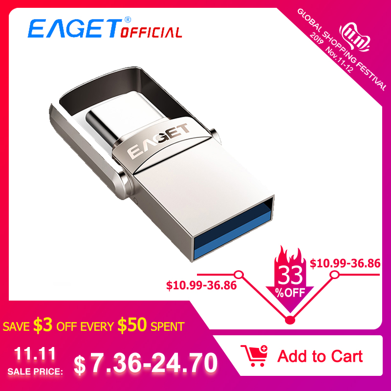 EAGET CU20 USB Flash Drive 32GB OTG Metal USB 3.0 Pen Drive  64GB Type C High Speed Pendrive Mini Flash Drive Memory Stick