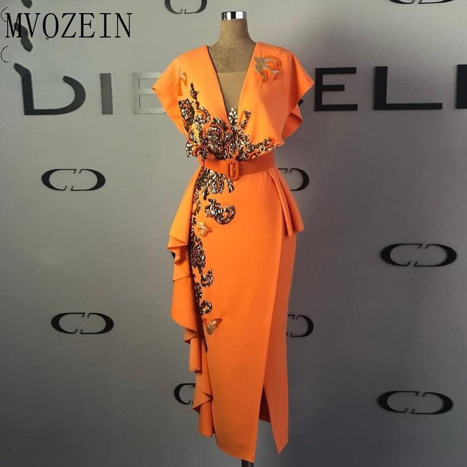 Gold Lace Appliques Evening Dresses 2020 Cap Sleeves V Neck Sheath Evening Gowns Orange Slit Sequins Tea Length Formal Dress
