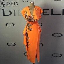 цена на Gold Lace Appliques Evening Dresses 2020 Cap Sleeves V Neck Sheath Evening Gowns Orange Slit Sequins Tea Length Formal Dress