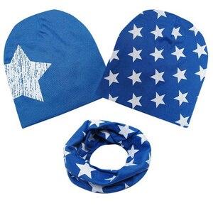 Outono inverno algodão 3 pçs chapéu do bebê cachecol conjunto estrela impressão boné do bebê crianças chapéus para meninos meninas bebê quente beanies cabeça bonés