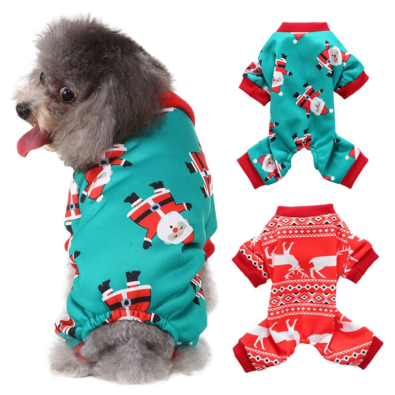 Pet Christmas Cosplay Costume Small And Medium Dogs Warm Jumpsuit For Autumn And Winter