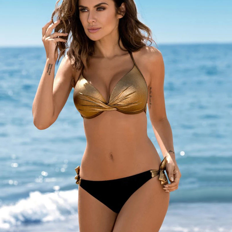 Sexy Halter Bikini 2022 Bandage Swimsuit Solid Swimwear Women Shiny Bordered Bikini Set Bathing Suit Push Up Two piece Suit|Bikini Set|   - AliExpress