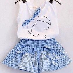 2018 reticulados ocasional terno da moda impressão de manga curta T-shirt das meninas do Verão e menina puro algodão sportswear