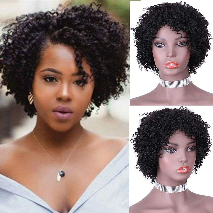 Fashion Lady Short Human Hair Wigs Cheap Jerry Curly Machine Made Wigs For Black Women Wearing At Home
