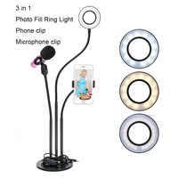 LED Selfie anillo luz multifunción regulable anillo de luz soporte de micrófono para cámara de teléfono en vivo maquillaje Youtube Facebook