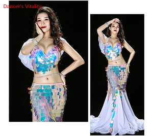 Image 4 - Bellydance Clothes Mermaid Sexy Long Dress Sequin Womens Oriental Belly Dance Costumes for Sale Dancing Outfits Bra+skirt Suit