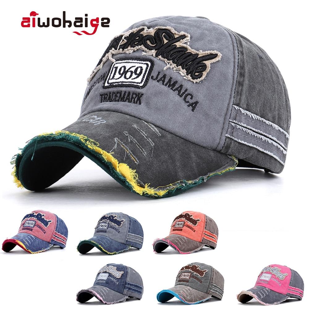 Mens Curved Trucker Cap Vintage Dad Distressed Snapback Hat