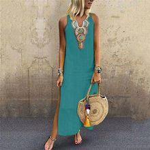 JODIMITTY Blusas Mujer De Moda 2020 Damen frauen Sommer Sommerkleid Ferien Casual Sleeveless Strand Party Midi Kleid Boho Kleid(China)