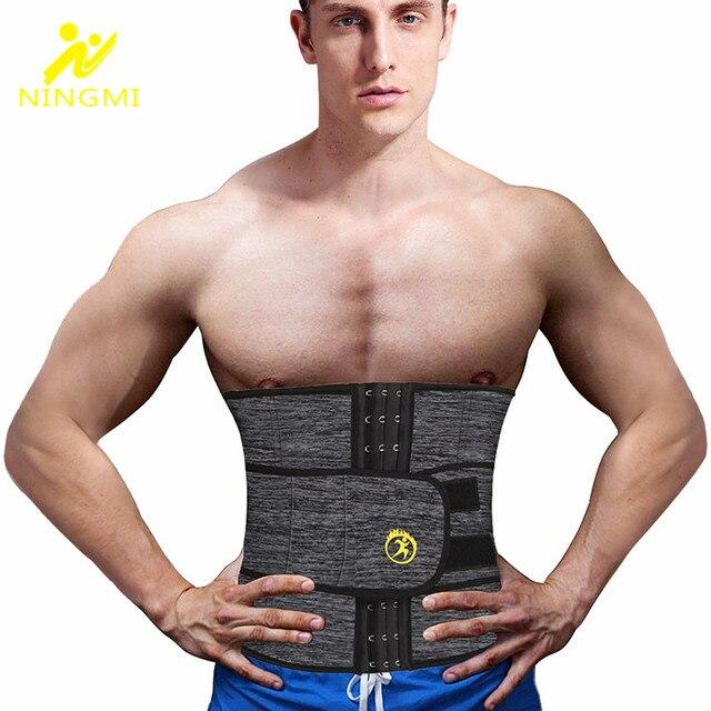 NINGMI Men Waist Trainer with Pocket Neoprene Man Shaper Cincher Corset Male Body Modeling Belt Slimming Strap Fitness Shapewear