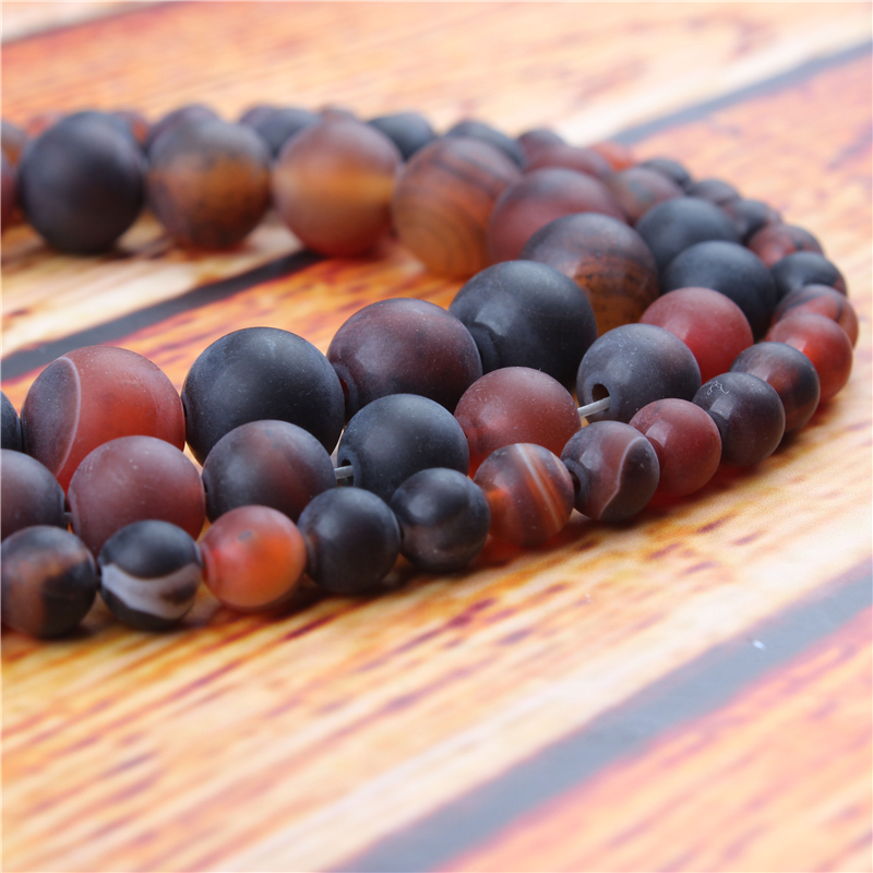 Frosted Dream Agate Natural Stone Bead Round Loose Spaced Beads 15 Inch Strand 4/6/8/10/12mm For Jewelry Making DIY Bracelet