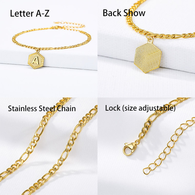 A-Z Initial Letter Anklet For Women Stainless Steel Anklets 21cm + 10cm Extender Gold Chain Alphabet Foot Accessories Jewelry 6