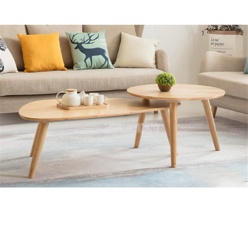 Nordic Round Sofa Side Two Tea Table Combination Set Solid Wood Living Room Modern Simple Creative Simple Living Room Tea Table
