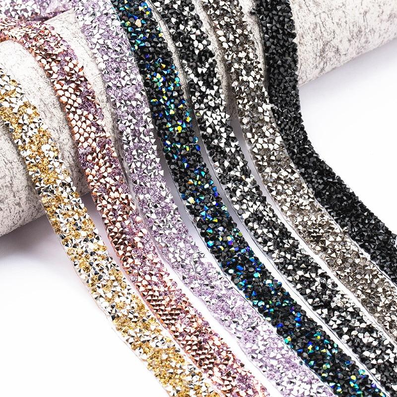 1 Yard 10mm Sewing Trim Crystal Motif Strass Hot Fix Shining Resin Rhinestone Tape Applicator Ribbon Appliques Dresses Clothes