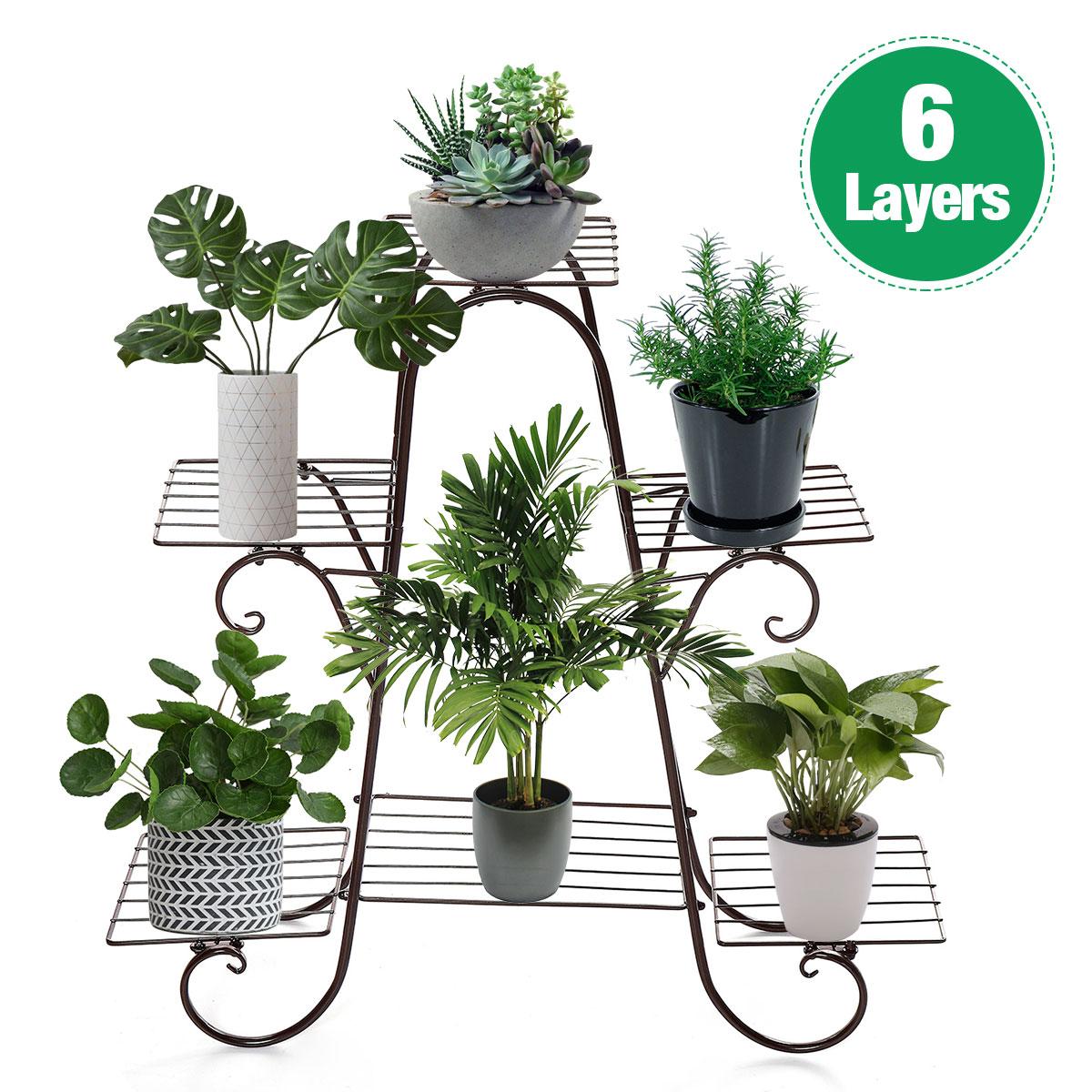 6 Layers European Wrought Iron Flower Stand Indoor Multi-story Flower Stand Rack Floor-standing Balcony Flower Pot Shelves