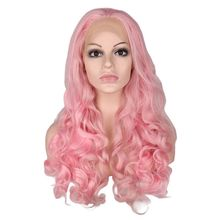 QQXCAIW Synthetic Lace Front Wig Women Light Pink Color Natural Glueless 22 -26 inch Long Body Wave Heat Resistant Fiber Wigs цена 2017