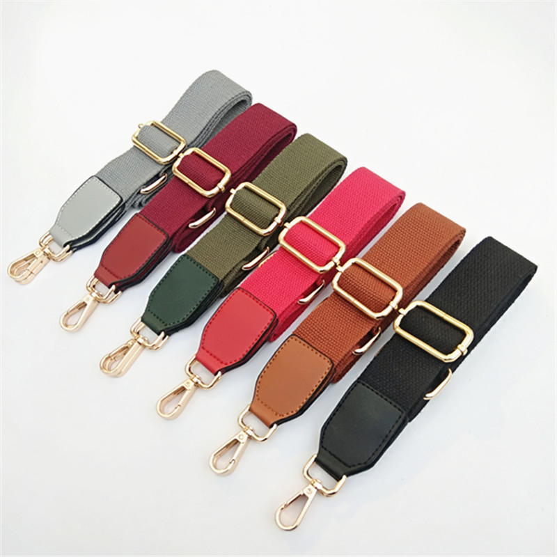 Luxury Pure Color Cotton Webbing With Pu Leather Long Shoulder Strap Adjustable Shoulder Messenger Bag Accessory Bag Obag