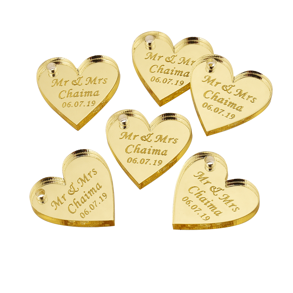 50pcs Personalized Engraved Mirror Gold Love Heart Wedding Tags