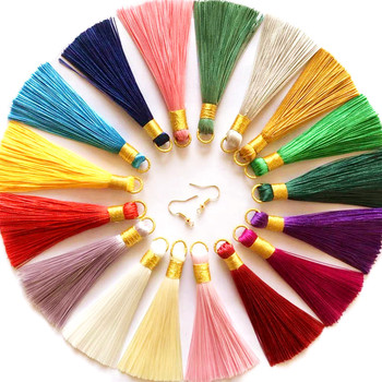 10pcs 8cm Polyester Silk Tassel Crafts Brush for Earring Charm Making Sati Tassels Pendant Diy Jewelry Accessories Handmade gufeather l31 2cm tassel cotton tassel bursh golden ring earring tassels jewelry accessories diy accessories jewelry making