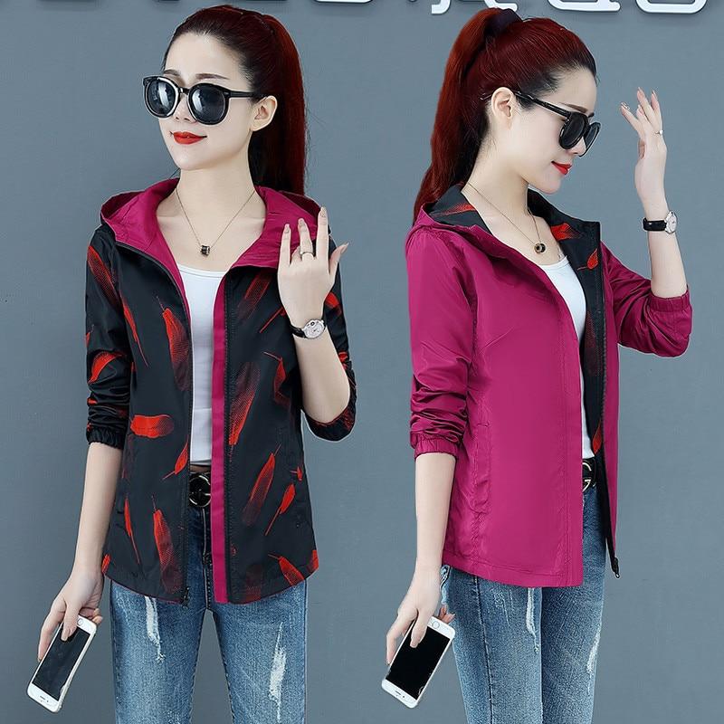 2020 Spring Autumn Thin Women Jacket Pocket Zipper Jackets Causal Hooded Windbreaker Two Side Wear Basic Coat Plus Size 4XL P562