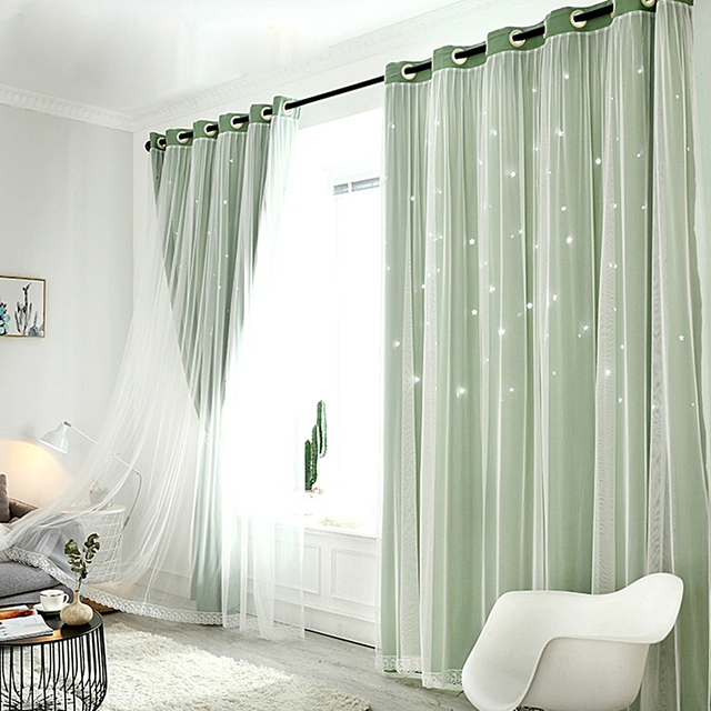 1x2m Window Tulle curtains for living room bedroom Blackout curtains Hollow curtain Nordic star ins princess wind curtain Pink 3