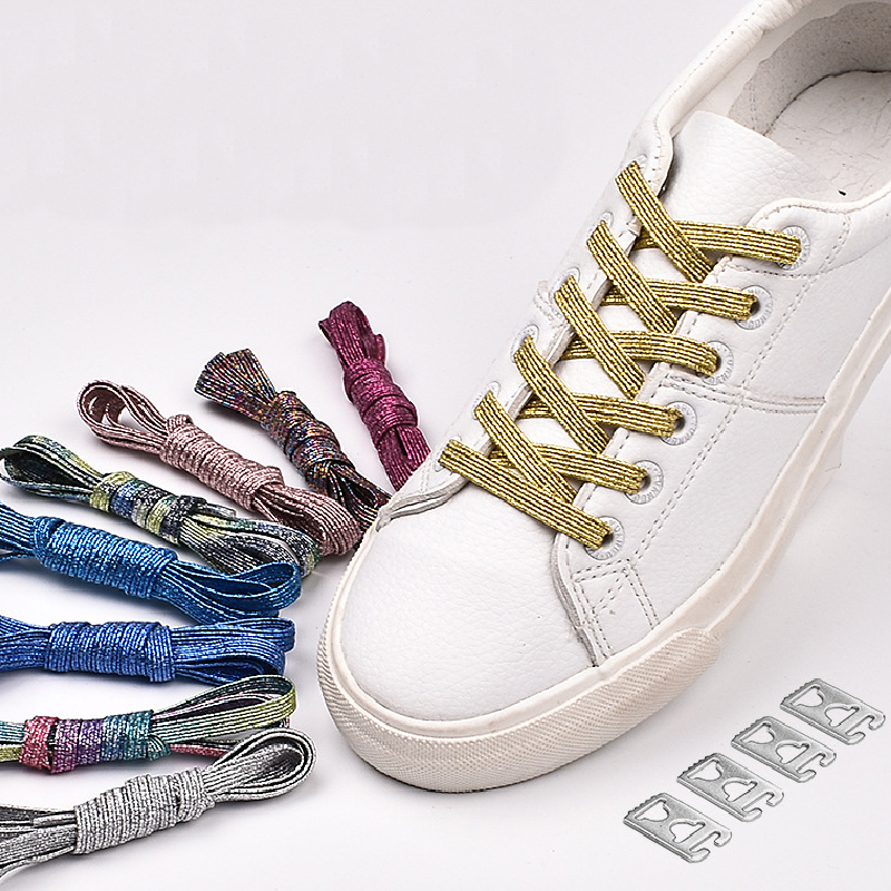 Creative Casual Buckle Lazy Shoelaces Elastic Magnetic Shoelaces Gold Silver Colorful Stretch Locking Lazy Shoelaces Strings