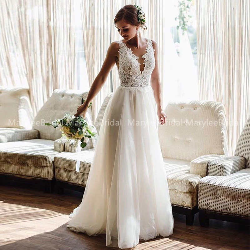 2020 A-line Beach Wedding Dresses Summer Boho Bride Dress Backless Illusion Lace Appliques With Tulle Wedding Gowns Plus Size