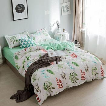 Tropikalne liście z nadrukiem roślinnym zielony zestaw narzut na łóżko kołdra dla dorosłych prześcieradła dla dzieci i poszewki na poduszki komfortowa pościel zestaw 61040 tanie i dobre opinie Brak Arkusz Zestawy Kołdrę poszewka Poliester bawełna 1 2 m (4 stóp) 1 5 m (5 stóp) 1 8 m (6 stóp) 2 0 m (6 6 stóp)
