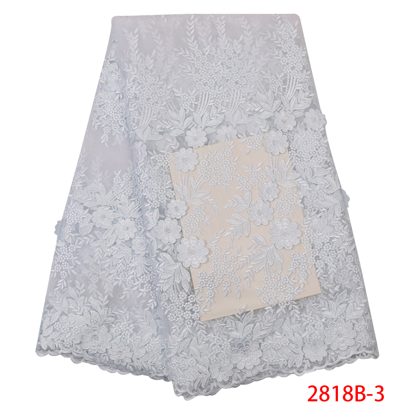 French Lace Fabric High Quality African Fabric Lace Latest Embroidered Nigerian Laces Fabrics For Women Dresses KS2818B-3
