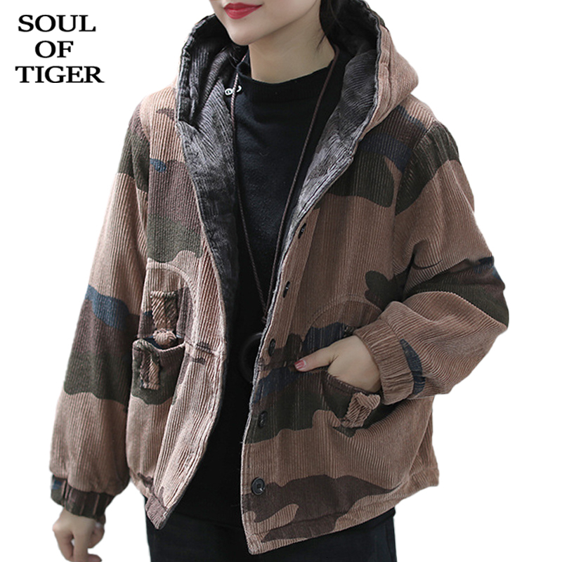 SOUL OF TIGER 2019 Fashion Korean Style Ladies Vintage Corduroy Jackets Women Camouflage Snow Coat Winter Casual Hooded Clothing