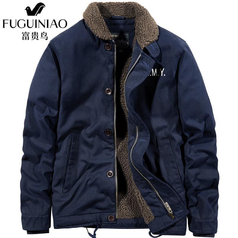 2020 hommes veste dhiver nouveau cachemire Blouson Homme mâle revers affaires manteau chaud épais épissure coton velours salopette parkas