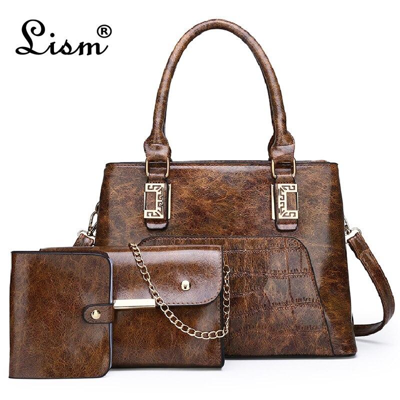 2019 New Women PU Leather Handbag Luxury Tote Bags Ladies Shoulder Bag Handbag Female Messenger Bag Purse Sac A Main 3Pcs/Set