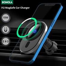 Bonula 15W 자기 자동차 무선 충전기 iPhone12 프로 최대/12Pro/12 미니/12 Qi 빠른 충전 360 ° 공기 콘센트 Mag 안전 자동차 홀더