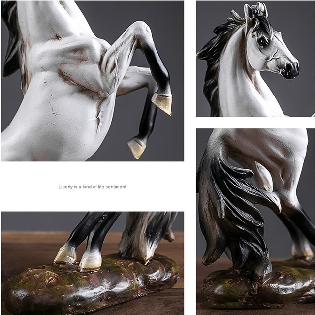 European War Horse Sculpture Statue Resin Home Decoration Accessories Domineering Animal Statue Modern Craft Gift Statue 3